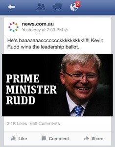 News.com.au announces Kevin Rudd's return on Facebook 45 minutes before the official announcement