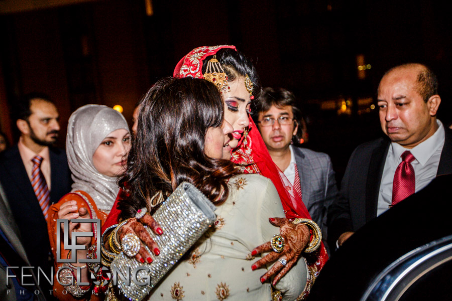 Bride and groom exit at the end of the Muslim wedding