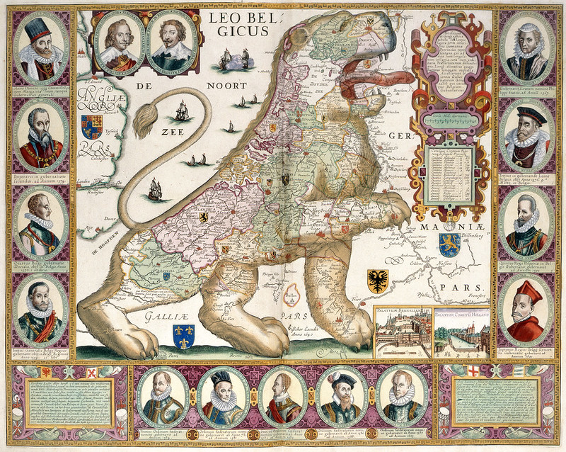 Leo Belgicus. Artificiosa et geographica tabula su - caption: 'Map in the shape of a lion'