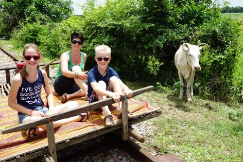 Enjoying the Bamboo Train in Battambang, Cambodia