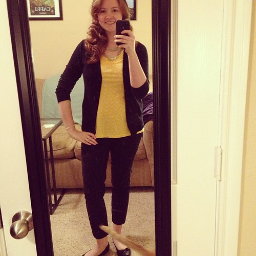 First day of work #ootd comes with a Finny tail and cooperatively curled hair! Top: Ann Taylor Loft; cardigan: Target; slacks: ON; shoes: Payless
