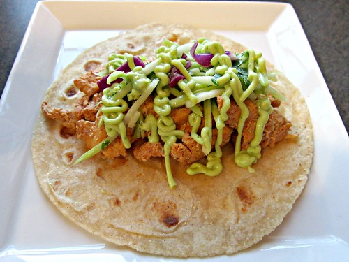 Adobo Chicken Tacos with Cilantro Slaw and Avocado Cream