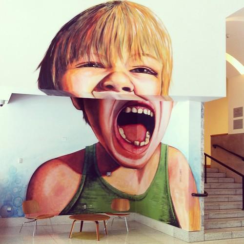 Crazy face mural