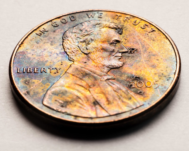 Lincoln cent with corrosion