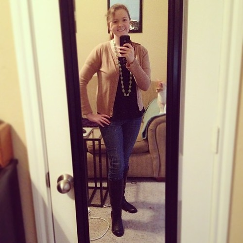 Blargh, that's a weird smile for the first Casual Fribsday of 2014, but oh well. #ootd #sharpdressedlady Top and cardigan - Target; Jeans - Old Navy; Boots - Payless; Necklace - Kate Spade knockoff