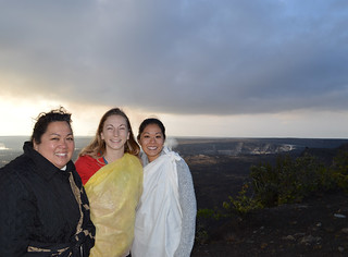 Kanani, Alexa, Jules under the transforming clouds and dramatic sunrise at Halema'uma'u crater