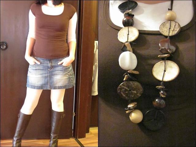 3/4 Shirt: Otto Versand/Shirt, Rock, Strumpfhose: orsay/Stiefel: Tchibo/Kette: dm