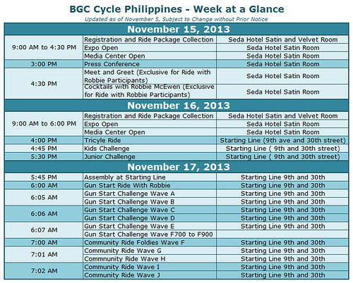 BGC Cycle Philippines 2013 Schedule of Events