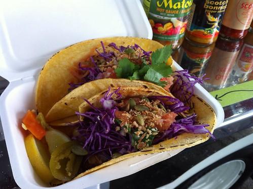 two vegan tacos