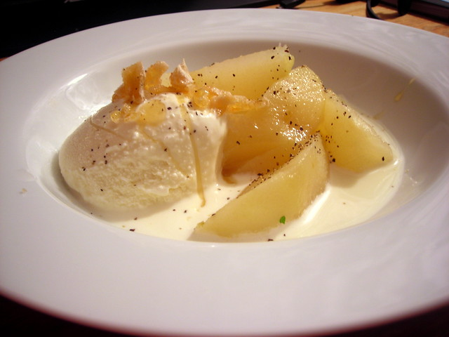 Spiced poached pears, vanilla ice cream, candied ginger