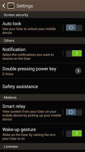 ปรับตั้งค่าต่างๆ สำหรับ Samsung Galaxy Gear