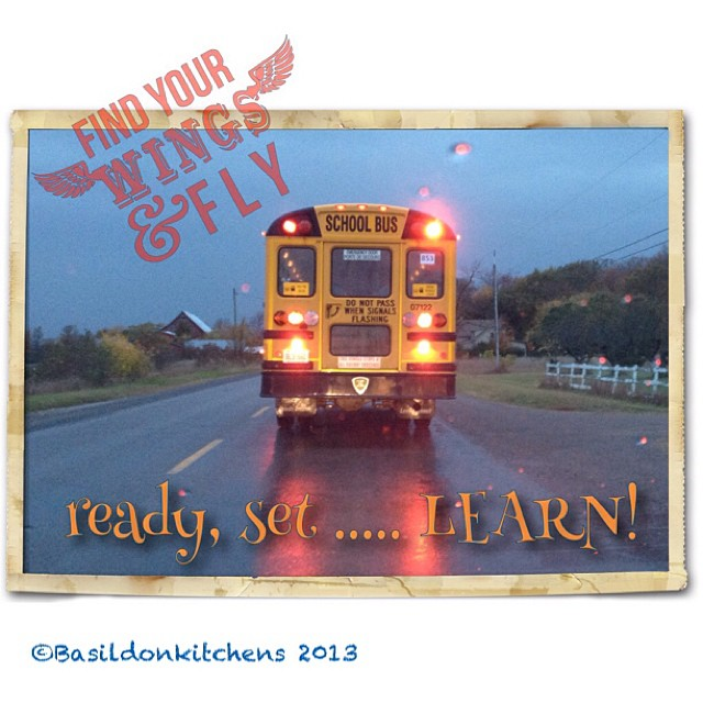 Oct 16 - ready, set ... LEARN!  It just seemed  obvious. #photoaday #learn #schoolbus #rain #rhonnadesigns #titlefx