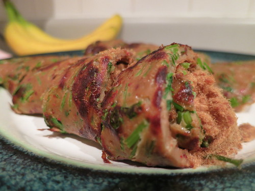 Cilantro and pork floss pancake roll