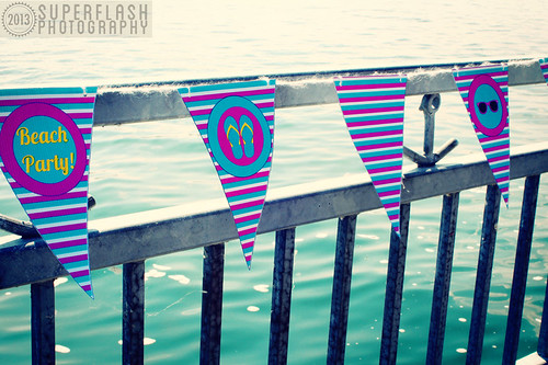 Life's A Beach, Superflash Creative, party, printables, pink, yellow, turquoise, etsy, bunting,