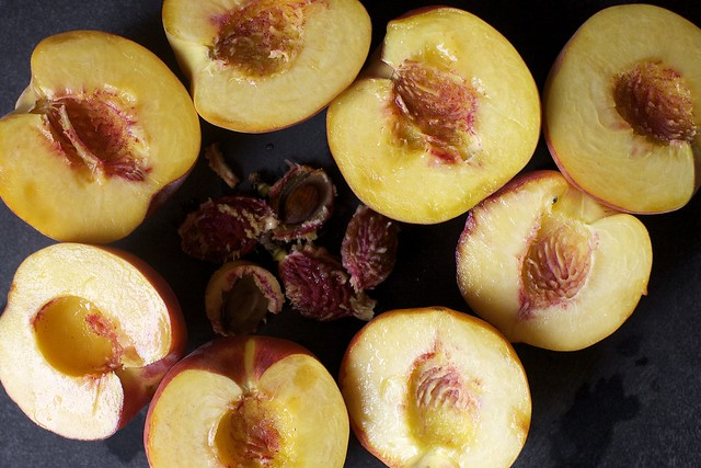 halved peaches, some freestone