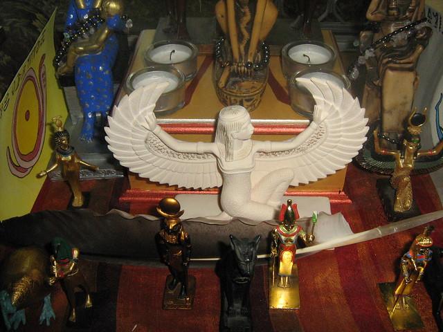 Netjeru Shrine - Khonsu, Bast, Satet, and Aset/Isis