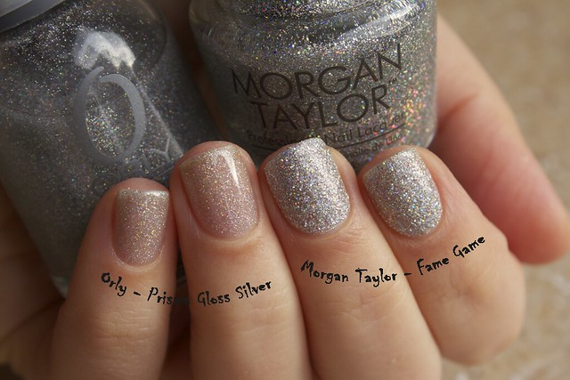 12 Comparison Morgan Taylor Fame Game vs Orly Prisma Gloss Silver without topcoat copy