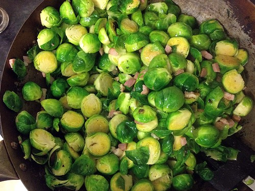 brussel sprouts in a wok