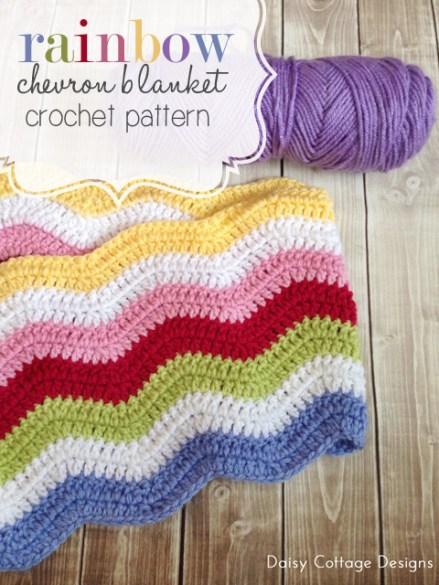 rainbow chevron crochet blanket