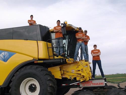 Crew on combine