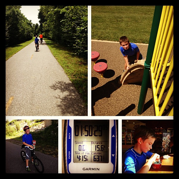 New distance PR for my 9 year old! 15 miles! #mcttrails  #bike #family #summer