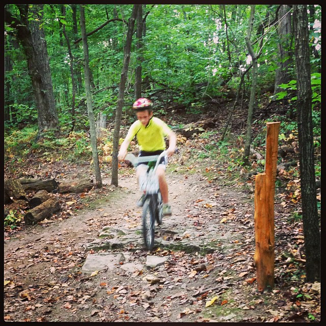 My little boy riding the trails at Broemmelsiek Park. #mtb #biking #takeakidmountainbikimgday