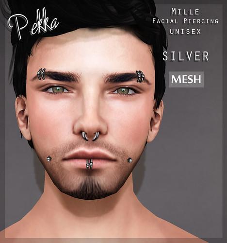 pekka mille facial unisex piercing silver