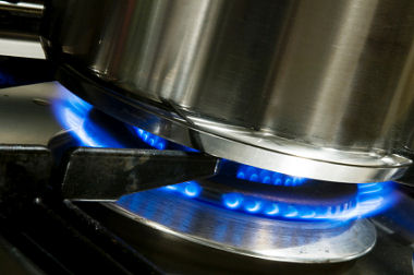 Pan on a gas burner