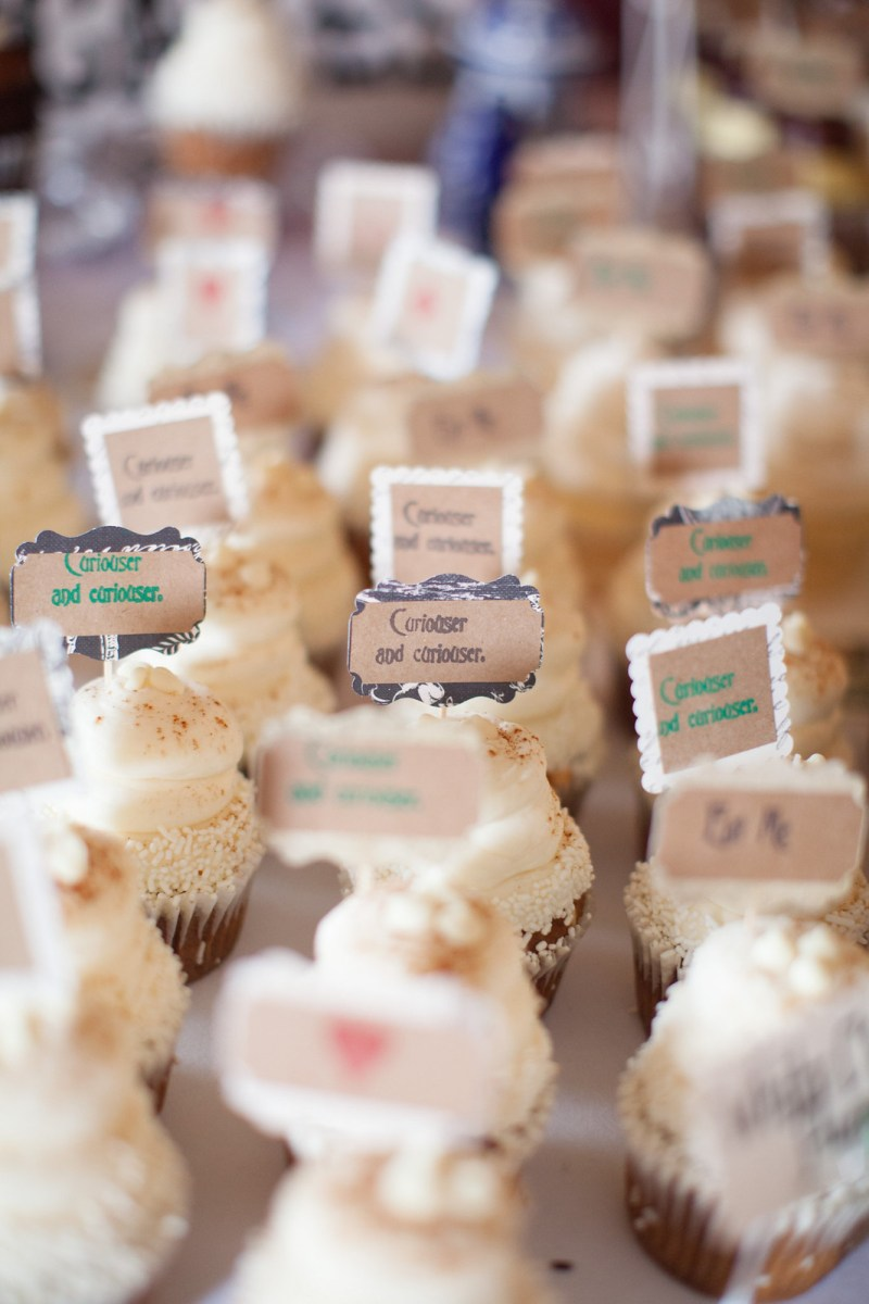 Our cupcakes and bottled drinks were Alice in Wonderland themed, as the book was published well before the 1880s :)