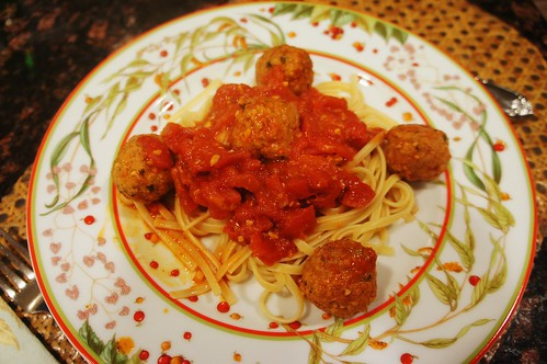 At Home:  Veal Balls with Chili-Tomato Sauce
