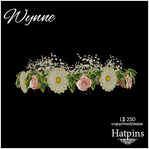 Hatpins - Wynne Hair Wreath - Daisies and Shell Pink Roses