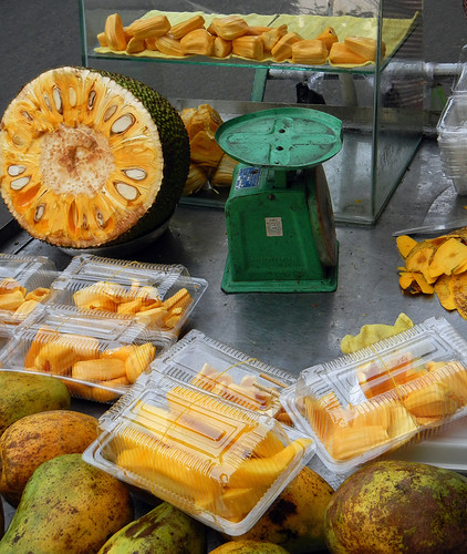 Jackfruit & papaya at a street stall in HCMC