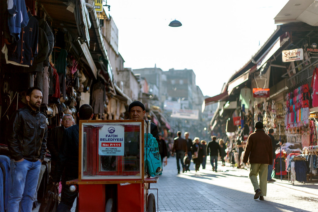Food vendor heading to setup at a Market in Istanbul.
