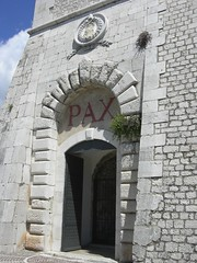 Pax over the Abbey entrance at Monte Cassino in Italy