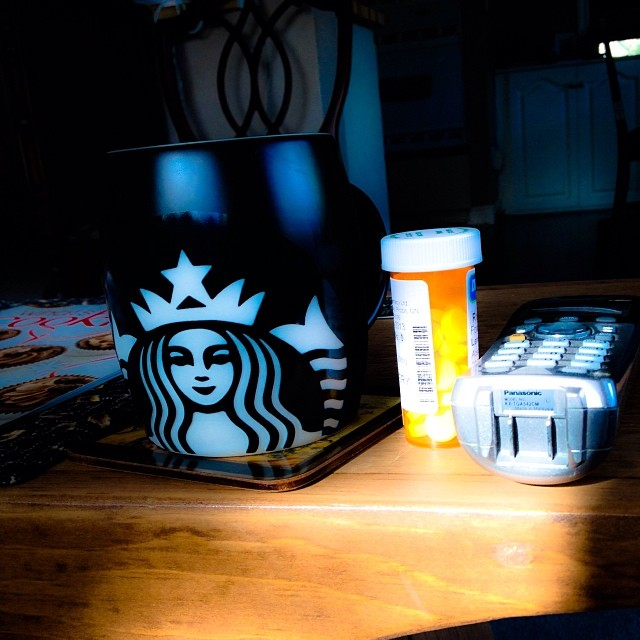 Nov 8 - preparation {Ready for another day trying to pass kidney stones} lots of drugs, lots of fluids, telephone nearby  #photoaday #sick #pain #sad #thankfulfirhubby