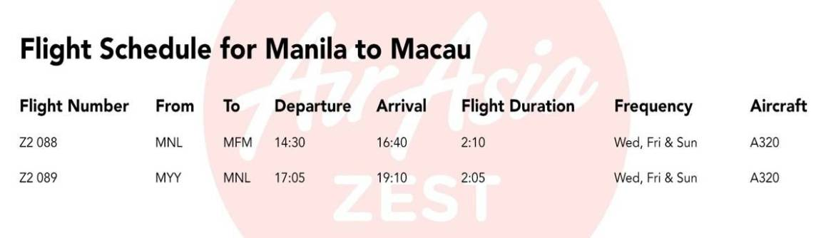 Flight Schedule (Manila to Macau)