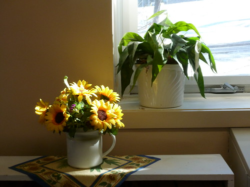Office still life with artificial flowers
