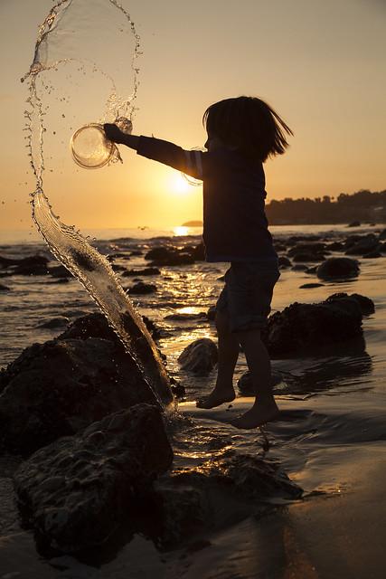 Jumping with joy, Solstice Beach access, Malibu