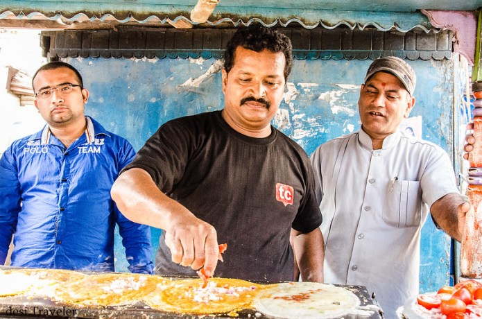 Govind making dosa on big plate
