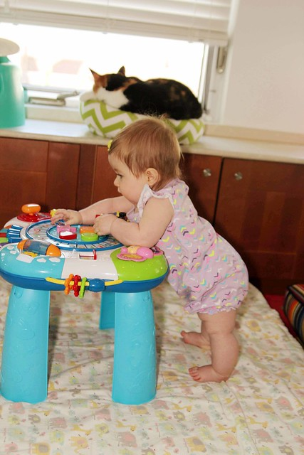 Standing at her activity table