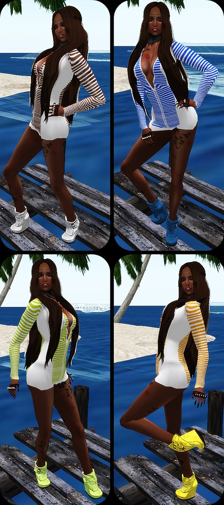 IAF Peep Dress in White/ White blue/ White Lime/ White Orange (With Tango Appliers)