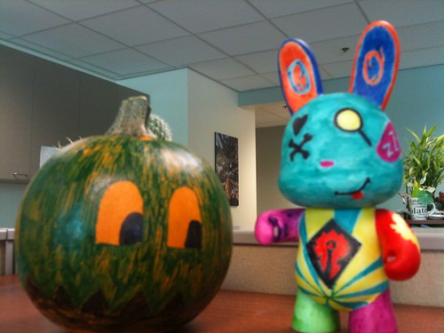 Ghost pumpkin and vinyl rabbit