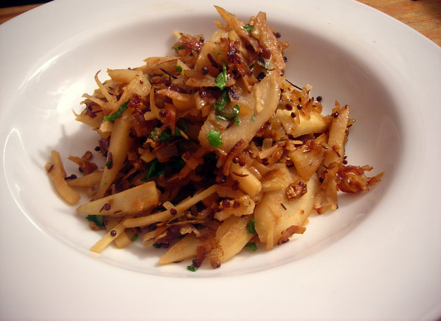 Dry-fried parsnips, with lime, coconut and dates