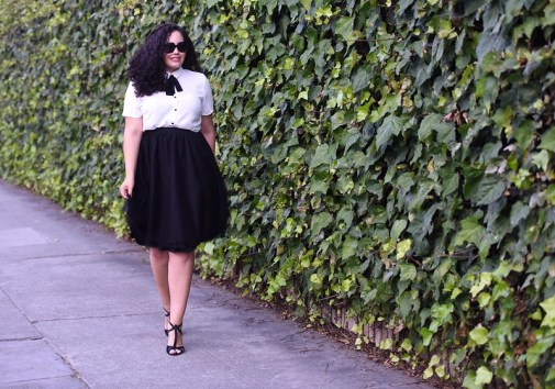 Plus Size Bow Blouse and Tulle Skirt