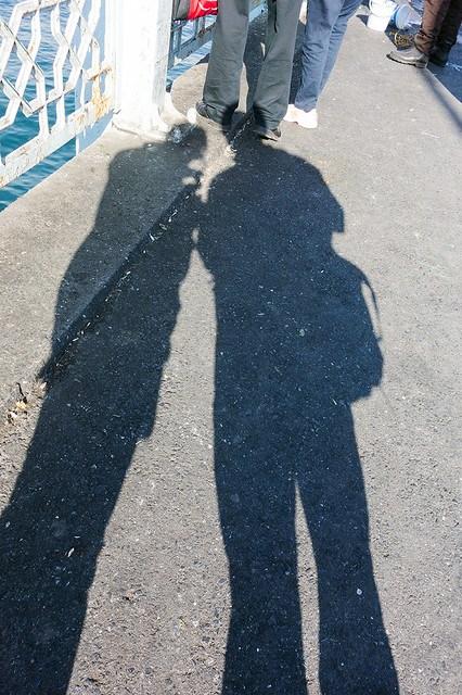 Love Shadow at the Galata Bridge, Istanbul.