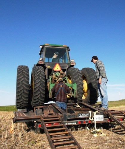 Chaining down the tractor
