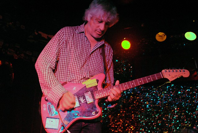Lee Ranaldo at Horseshoe Tavern during one of the quieter parts of his set, which also saw him bow his guitar and smash it with Tibetan bells – also pictured in the photo gallery. Photos: Tom Beedham
