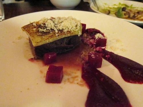 Beef brisket, miso gorgonzola crust, beets