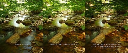 Gebruik van het polarisatiefilter om reflectie in het water weg te filteren. Combineren met een grijsverloopfilter brengt de belichting in balans.