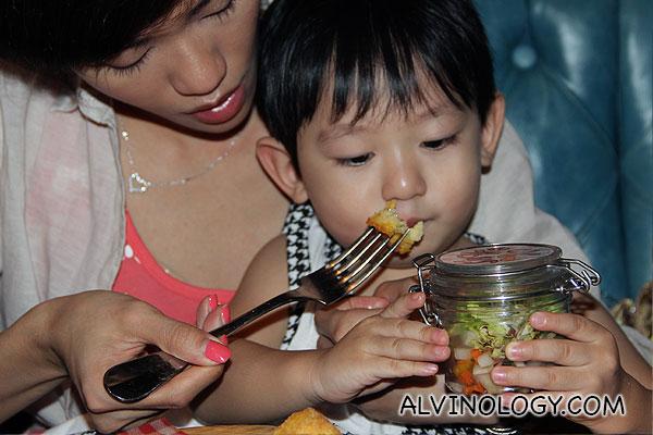 Asher enjoying his food